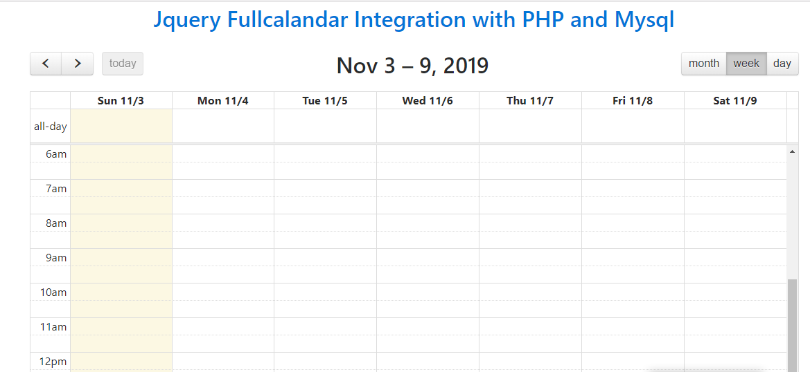 jQuery FullCalendar Integration Using PHP MySQL & AJAX