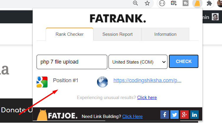 How to Check Keyword Ranking on Google SERPS in SEO Using Fat Rank Chrome Extension in 2020
