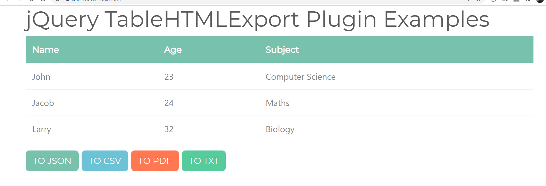 How to Export HTML Table to PDF/CSV/JSON/TXT Files Using jsPDF & TableHtmlExport Library 2020