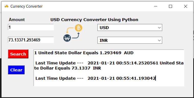 Python Tkinter GUI Script to Make Currency Converter Application Using API Full Project For Beginners