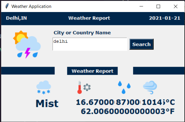 Python Tkinter GUI Script to Make a Weather Application Using Open Weather Map API Full Project For Beginners