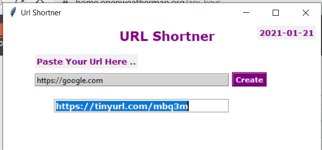 Python Tkinter GUI Script to Build a URL Shortener Using pyshorteners Library Full Project For Beginners