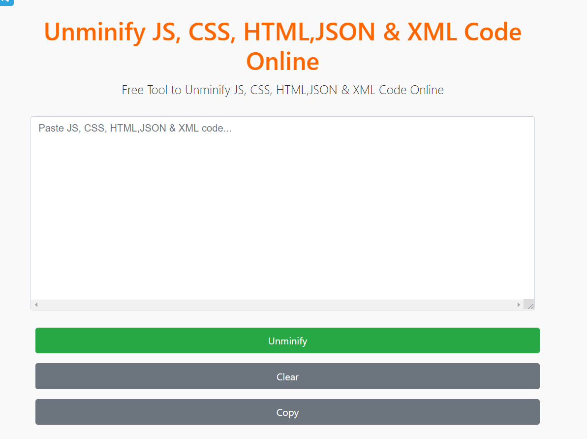 Build a Unminify JS,HTML,CSS,XML and JSON Source Code Online Tool in Javascript Full Project For Beginners With Source Code