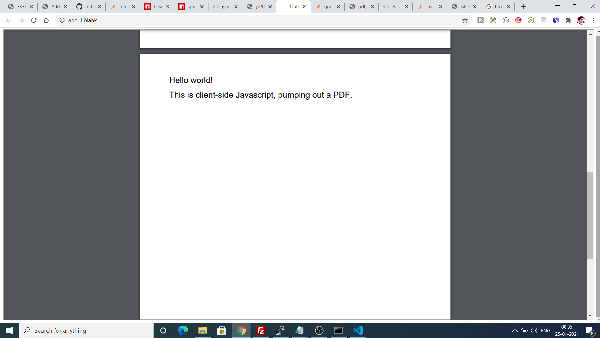 jsPDF Tutorial to Convert or Encode Output PDF File to Base64 String in Javascript Full Example For Beginners