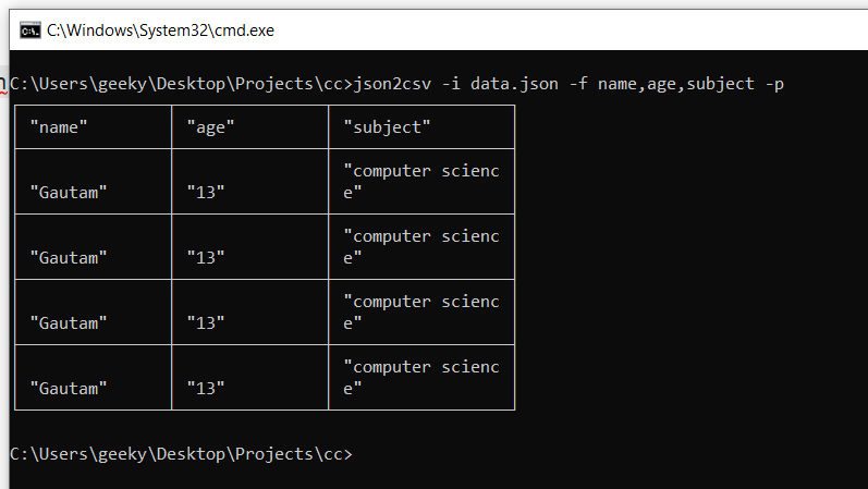 Node.js Project to Convert Raw JSON File to CSV Using json2csv Library in Javascript Full Tutorial For Beginners