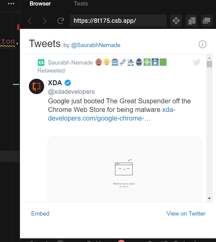 React.js Twitter API to Embed Profile and Posts Media on Website Using react-twitter-embed Library in Javascript Full Tutorial For Beginners