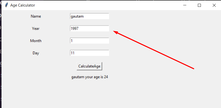 Python Tkinter GUI Script to Make a Simple Age Calculator From Date of Birth (DOB) Full Project For Beginners
