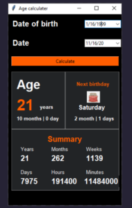 Python 3 Tkinter GUI Script to Make Age Calculator From DOB Using tk-calendar Library Full Project For Beginners