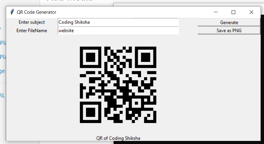 Python Tkinter GUI Script to Make a QR Code Generator Desktop App Using pyqrcode Library Full Project For Beginners