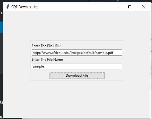 Python Tkinter GUI Script to Download PDF Document From URL Desktop App Full Project For Beginners