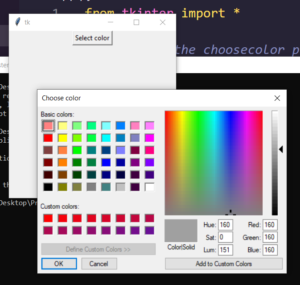Python 3 Tkinter GUI Script to Make Color Picker or Chooser Dialog Popup Window Full Tutorial For Beginners