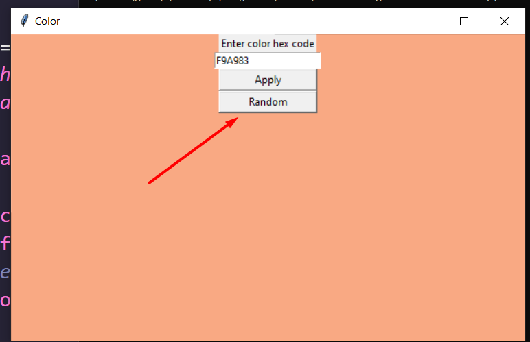 Python Tkinter Random Color in Hexadecimal Code Generator and Change Background Color Using Random Library GUI Desktop App Full Project For Beginners