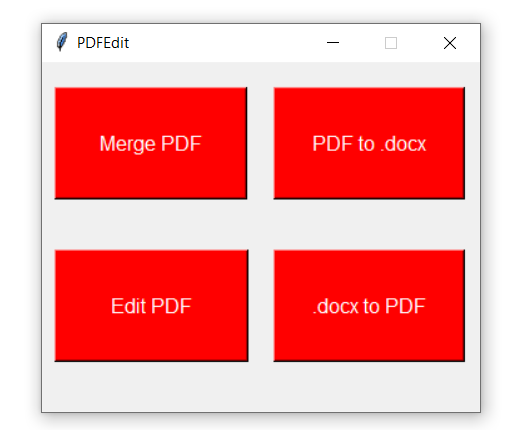 Python Tkinter PDF Editor GUI App to Merge,Edit and Convert PDF to DOCX or Vice Versa Using Docx and PyPDF2 Module Full Project For Beginners