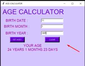 Python 3 Tkinter Age Calculator From Date of Birth in Days,Months and Years GUI Script Desktop App Full Project For Beginners