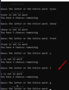 Python 3 Word or Character Guessing Game Script in Command Line Using Random Module GUI Desktop App Full Project For Beginners