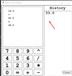 Python 3 Turtle Library Simple Arithmetic Graphics Calculator with History GUI App Full Project For Beginners