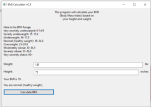 Python 3 WxPython BMI (Body Mass Index) Calculator By Height and Weight GUI Script Desktop App Full Project For Beginners
