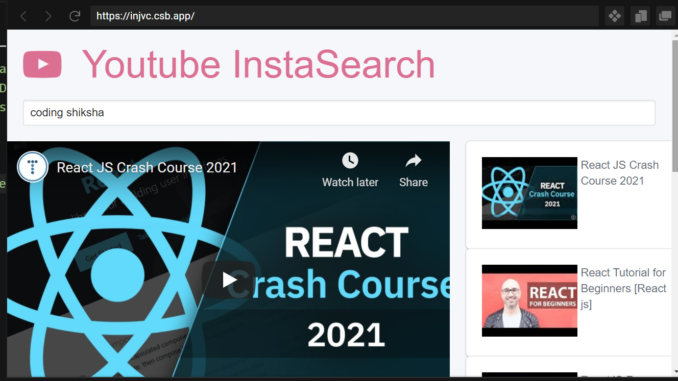 React.js Youtube Data API V3 Search Videos Autocomplete by Keyword Using Functional Components Full Example For Beginners