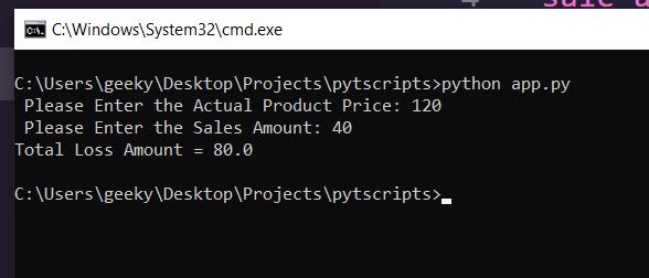 Python 3 Script to Calculate Profile or Loss of Products Full Project For Beginners