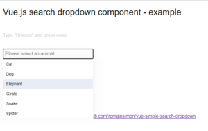 Vue.js Search Dropdown Select List in Browser Using vue-simple-search-dropdown Library in Javascript Full Project For Beginners