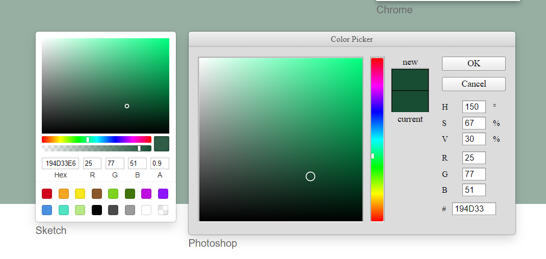 Vue.js vue-color Library to Build Native HTML5 RGB Hexadecimal Color Picker in Javascript Full Project For Beginners