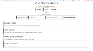 Vue.js Toast Alert Push Notification Popup Bar in Browser Using HTML5 CSS3 and Javascript Full Project For Beginners