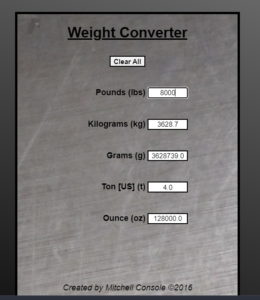 Build a Unit Weight (Mass) Conversion Calculator in HTML5 CSS3 and Javascript Full Project For Beginners