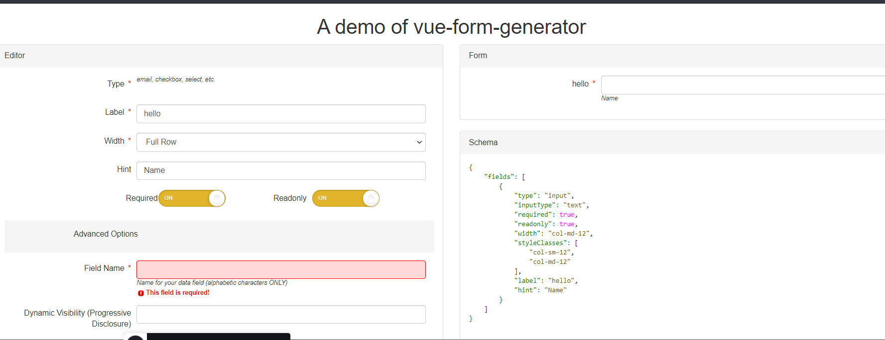 Vue.js Dynamic Bootstrap Form Fields Generator From JSON Schema in Browser Using Javascript Full Project For Beginners