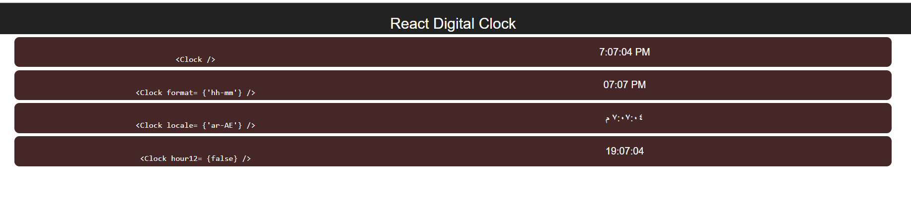 React.js react-digital-clock Library Example to Build a Countdown Digital Alarm Blinking Clock in Browser Using Javascript Full Project For Beginners