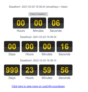 Vue.js Countdown Event Digital Clock Timer with Flip Effect Using vue2-flip-countdown in Browser Using Javascript Full Project For Beginners