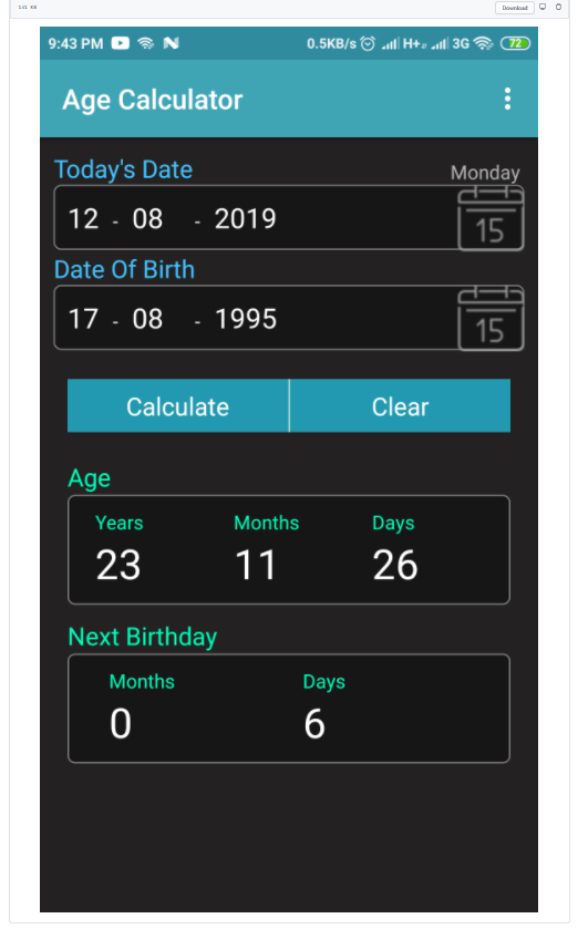 Build a Android Age Calculator From Date of Birth (DOB) App in Java Full Project With Source Code For Beginners